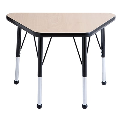 ECR4®Kids 18 x 30 Trapezoid Activity Table With Toddler Legs & Ball Glide, Maple/Black/Black
