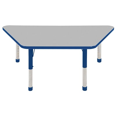 ECR4®Kids 30 x 60 Trapezoid Activity Table With Chunky legs & Standard Glide, Gray/Blue/Blue
