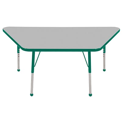 ECR4®Kids 30 x 60 Trapezoid Activity Table With Toddler Legs & Ball Glide, Gray/Green/Green
