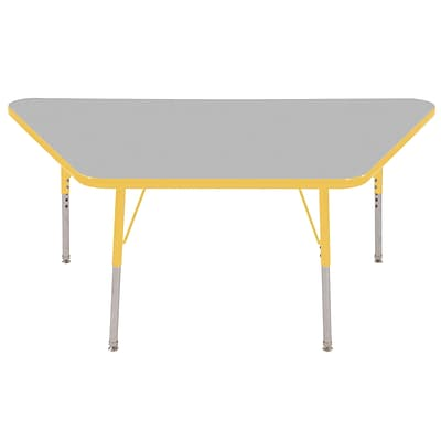 ECR4®Kids 30 x 60 Trapezoid Activity Table With Standard Legs & Swivel Glide, Gray/Yellow/Yellow