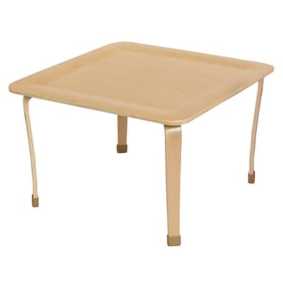 ECR4®Kids 30 x 30 Square Bentwood Play Table With 18 Legs, Natural