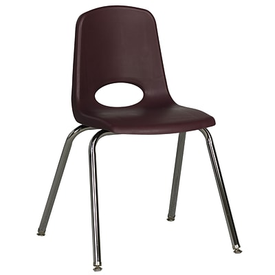 ECR4®Kids 18(H) Plastic Stack Chair With Chrome Legs & Nylon Swivel Glides; Burgundy, 5/Pack