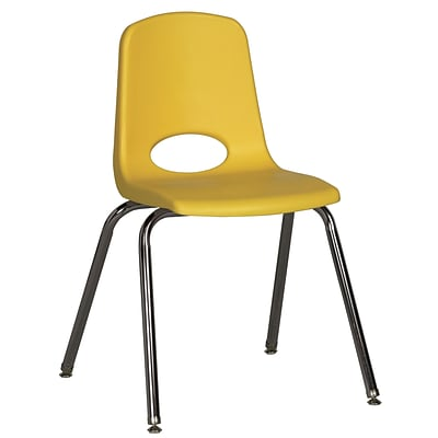 ECR4®Kids 18(H) Plastic Stack Chair With Chrome Legs & Nylon Swivel Glides, Yellow, 5/Pack