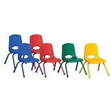 ECR4®Kids 12(H) Matching Legs Plastic Stack Chair With Ball Glides; Assorted