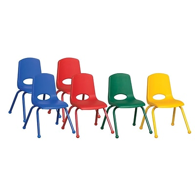 ECR4®Kids 14(H) Matching Legs Plastic Stack Chair With Ball Glides, Assorted