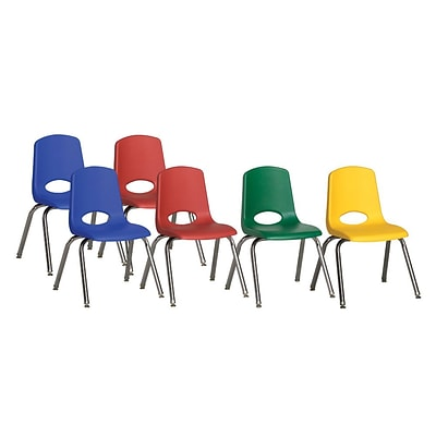 ECR4Kids 16 Stack Chair-6pc-Matching Legs- Assorted, 6-PK (ELR-15120-ASG)
