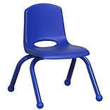 ECR4®Kids 10(H) Matching Legs Plastic Stack Chair With Ball Glides, Blue, 6/Pack