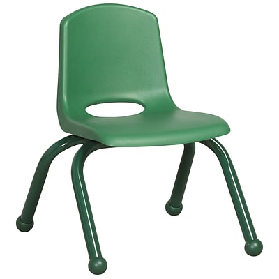 ECR4®Kids 10(H) Matching Legs Plastic Stack Chair w/Ball Glides, Green, 6/Pack