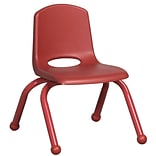 ECR4®Kids 10(H) Matching Legs Plastic Stack Chair With Ball Glides, Red, 6/Pack