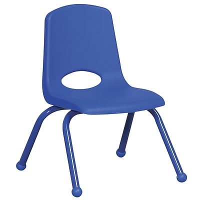 ECR4®Kids 12(H) Matching Legs Plastic Stack Chair w/Ball Glides, Blue, 6/Pack