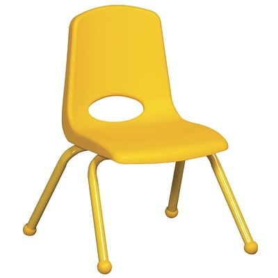 ECR4®Kids 12(H) Matching Legs Plastic Stack Chair w/ Ball Glides, Yellow, 6/Pack