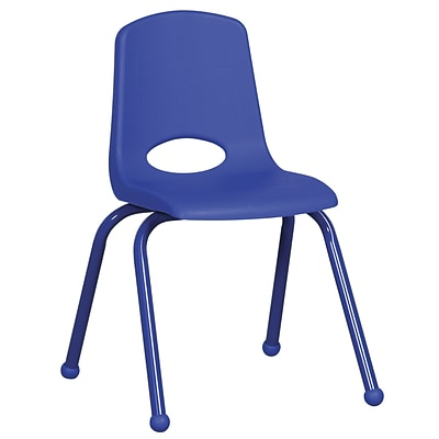 ECR4®Kids 16(H) Matching Legs Plastic Stack Chair With Ball Glides, Blue, 6/Pack