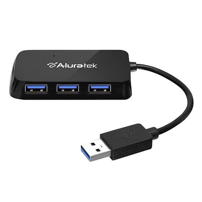 Aluratek 4 Port USB 3.0 SuperSpeed Hub With Attached Cable