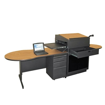 Marvel® Vizion® 72 x 30 Laminate Teachers Desk W/Media Center/Acrylic Door, Oak
