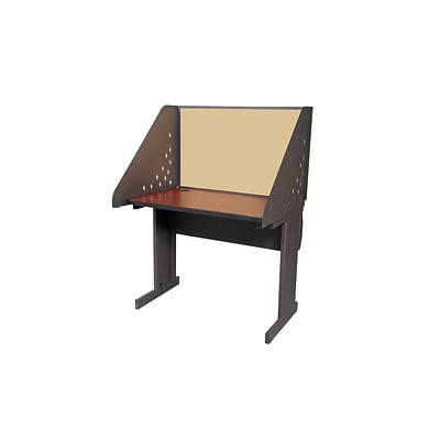 Marvel® Pronto® Dark Neutral 42 x 24 Laminate Training Table W/Carrel & Lockable Raceway, Beryl