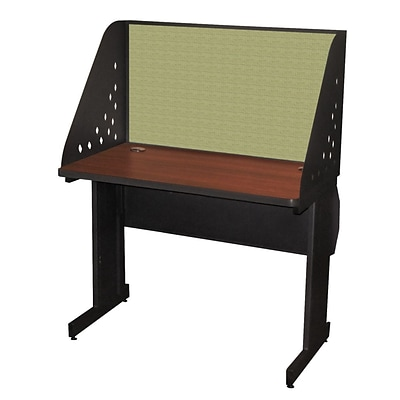 Marvel® Pronto® Dark Neutral 42 x 24 Laminate Training Table W/Carrel & Lockable Raceway, Peridot