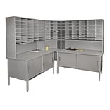 Marvel® Mailroom 70 -  78 x 90 x 30 84 Slot Corner Literature Organizer With Cabinet; Gray