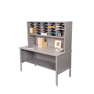Marvel® Mailroom 60 -  68 x 60 x 30 25 Slot Literature Organizer With Riser; Gray