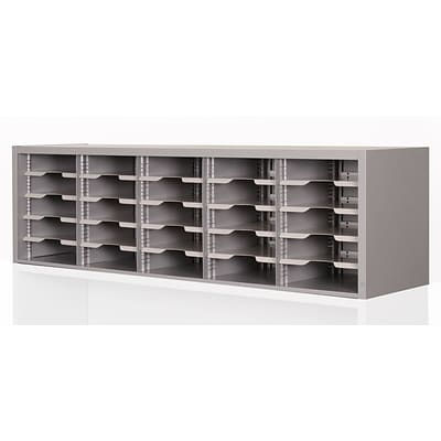 Marvel® Mailroom 16 x 60 x 14 25 Compartment Utility Sorter With Shelves, Gray
