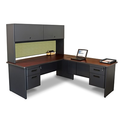 Marvel® Pronto® 72L x 78W Laminate Desk with Return and Pedestal, Dark Neutral Peridot