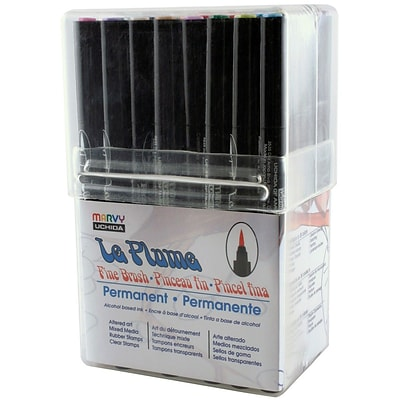 Uchida Le Plume Permanent Fine Brush Markers, 36/Pack