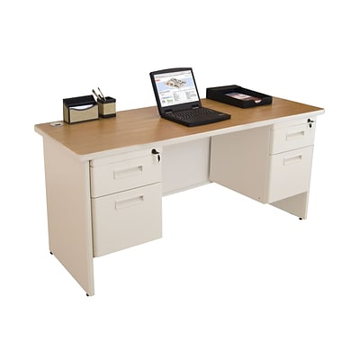 Marvel® Pronto® 60 x 24 Double Pedestal Credenza Desk, Oak/Pumice