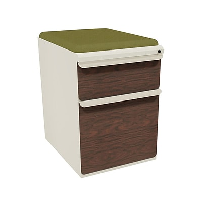 Marvel® Zapf® Pumice Figured Mahogany Front 19 Box/File Mobile Pedestal W/ Seat, Fennel
