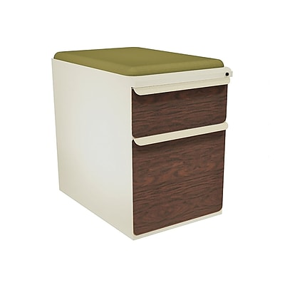 Marvel® Zapf® Pumice Figured Mahogany Front 23 Box/File Mobile Pedestal W/ Seat, Fennel