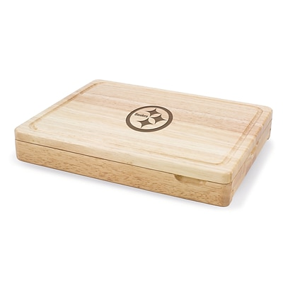 Picnic Time® NFL Licensed Asiago Pittsburgh Steelers Engraved Cutting Board W/Tools; Natural Wood