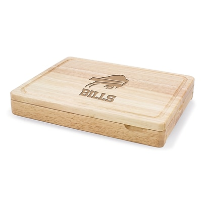Picnic Time® NFL Licensed Asiago Buffalo Bills Engraved Cutting Board W/Tools; Natural Wood