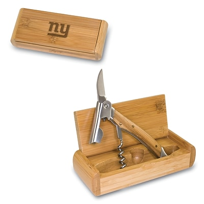 Picnic Time® NFL Licensed Elan New York Giants Engraved Corkscrew With Box; Bamboo