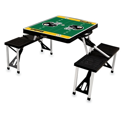 Picnic Time® NFL Licensed Pittsburgh Steelers Digital Print ABS Plastic Sport Picnic Table, Black