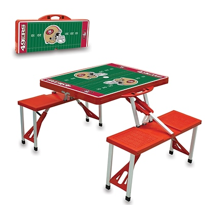 Picnic Time® NFL Licensed San Francisco 49Ers Digital Print ABS Plastic Sport Picnic Table, Red