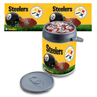 Picnic Time® NFL Licensed Pittsburgh Steelers Digital Print Polyethylene Can Cooler, White/Gray