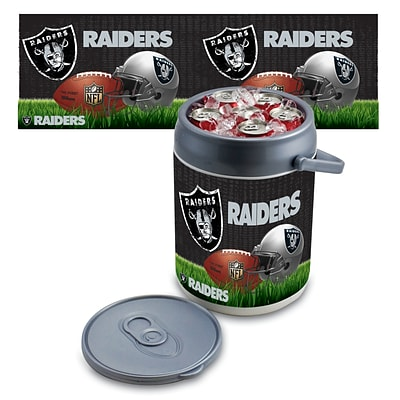 Picnic Time® NFL Licensed Oakland Raiders Digital Print Polyethylene Can Cooler, White/Gray