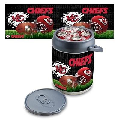 Picnic Time® NFL Licensed Kansas City Chiefs Digital Print Polyethylene Can Cooler, White/Gray