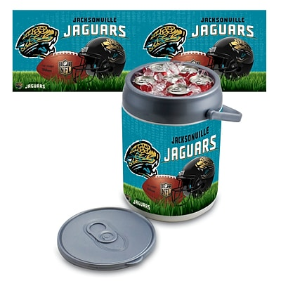 Picnic Time® NFL Licensed Jacksonville Jaguars Digital Print Polyethylene Can Cooler, White/Gray