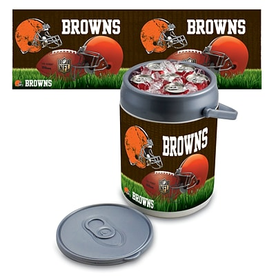 Picnic Time® NFL Licensed Cleveland Browns Digital Print Polyethylene Can Cooler, White/Gray