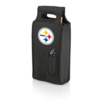 Picnic Time® NFL Licensed Samba Pittsburgh Steelers Digital Print Neoprene Wine Tote, Black