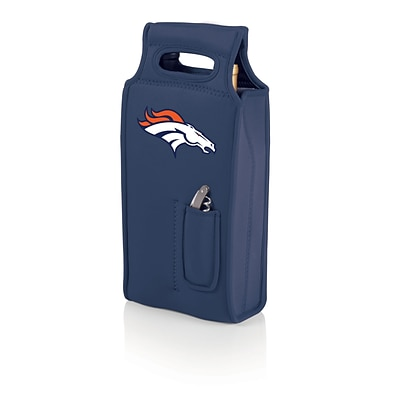 Picnic Time® NFL Licensed Samba Denver Broncos Digital Print Neoprene Wine Tote, Navy/Slate