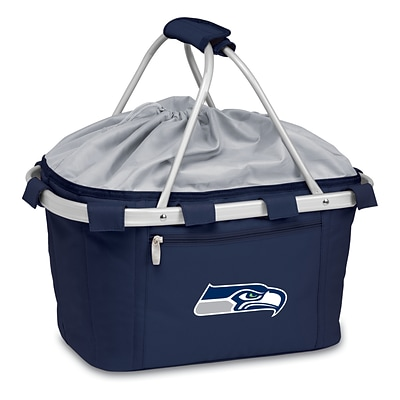 Picnic Time® NFL Licensed Metro® Seattle Seahawks Digital Print Polyester Basket, Navy