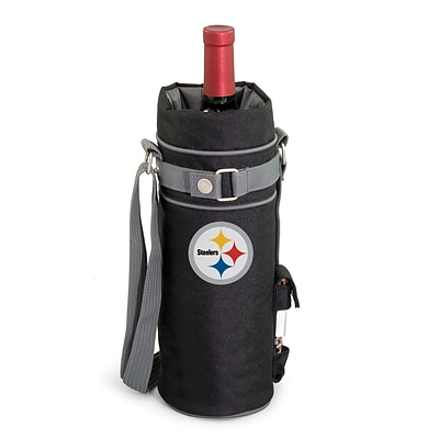 Picnic Time® NFL Licensed Pittsburgh Steelers Digital Print Polyester Insulated Wine Sack, Black