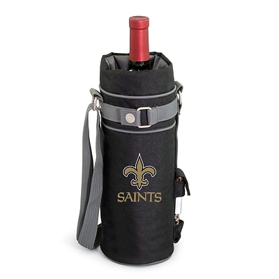 Picnic Time® NFL Licensed New Orleans Saints Digital Print Polyester Insulated Wine Sack, Black