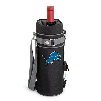 Picnic Time® NFL Licensed Detroit Lions Digital Print Polyester Insulated Wine Sack, Black