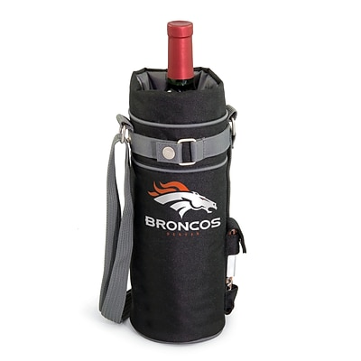 Picnic Time® NFL Licensed Denver Broncos Digital Print Polyester Insulated Wine Sack, Black
