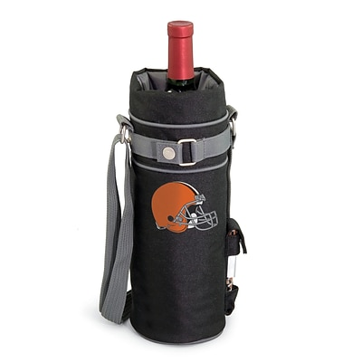 Picnic Time® NFL Licensed Cleveland Browns Digital Print Polyester Insulated Wine Sack, Black