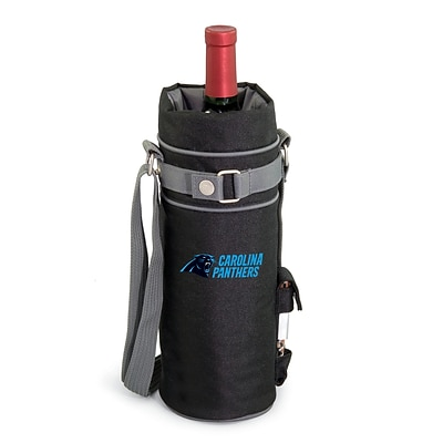 Picnic Time® NFL Licensed Carolina Panthers Digital Print Polyester Insulated Wine Sack, Black