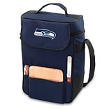 Picnic Time® NFL Licensed Duet Seattle Seahawks Digital Print Wine Picnic Tote, Navy