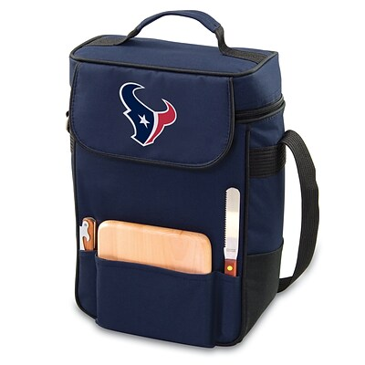 Picnic Time® NFL Licensed Duet Houston Texans Digital Print Wine Picnic Tote, Navy