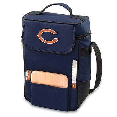 Picnic Time® NFL Licensed Duet Chicago Bears Digital Print Wine Picnic Tote, Navy